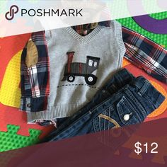 2 piece mix and match- Jeans not included A n L.O.G.G. Plaid button up dress shirt with Train sweater vest- Copper Denim jeans not included but selling in my closet H&M Other