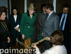 12 February 1987 Diana, Princess of Wales visits a hand-weaving store in Lisbon during her visit to Portugal