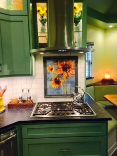 """Beautiful kitchen remodel featuring artist Chris Brandley's """"Sunflowers"""" on satin ceramic tiles! Kitchen Tile, Kitchen Design, Tile Murals, Beautiful Kitchens, Kitchen Remodel, Backsplash Ideas, This Or That Questions, Sunflowers, Tiles"""