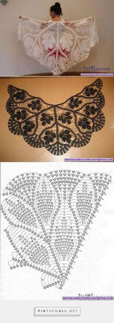 Ideas Crochet Shawl Pattern Diagram Ganchillo For 2019 Crochet Diy, Filet Crochet, Art Au Crochet, Poncho Au Crochet, Pull Crochet, Mode Crochet, Crochet Shawls And Wraps, Crochet Motifs, Crochet Diagram