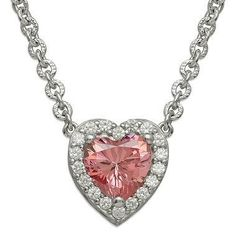 "Let this sterling silver pink heart Swarovski zirconia necklace from Gemma with Love act as a beautiful representation of your affections. Hangs from a 17"" sterling silver cable chain."