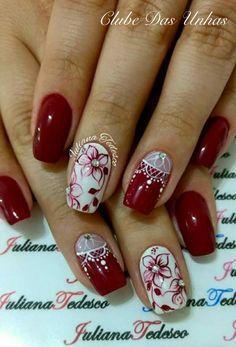 Top fotos e modelos de unhas decoradas unhas decoradas diferentes, unhas decoradas pés, unhas Short Nail Designs, Nail Art Designs, Nails Design, Nail Manicure, Gel Nails, Red Acrylic Nails, Round Nails, Pretty Nail Art, Flower Nails