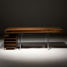 Bodil Kjaer; Wenge and Chromed Steel Desk for E. Pedersen & Søn, 1959.