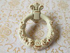 White Ring Drawer Pulls / Dresser Pull Knobs Gold Flower Kitchen Cabinet Pulls Hardware by LynnsGraceland, $5.50