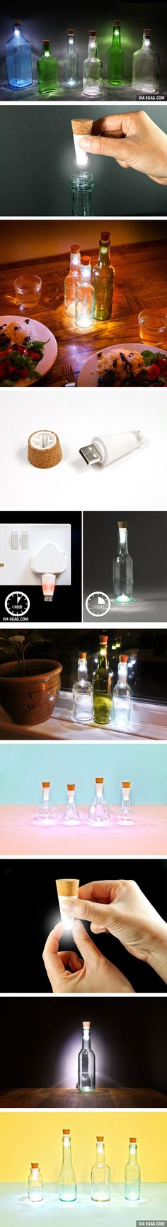 You Can Turn Your Old Bottles Into Lamps With Rechargeable LED Corks!