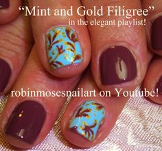Easy Nail Art Tutorial - DIY Short Nail Art for Beginners - Gold Filigree