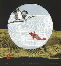 """Flying fish, heron dreaming"" woodcut © Ona Henderson. 1 available"