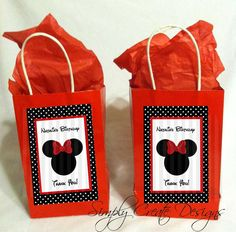 Minnie Mouse Theme Party Favor Tags in Red by SimplyCreateDesigns, $5.75