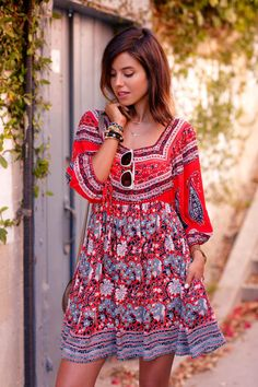 VivaLuxury - Fashion Blog by Annabelle Fleur: MINI IN MALIBU - FREE PEOPLE Midsummer dream dress   SEE BY CHLOE Lace-up metallic leather & suede platform sandals   CHLOE The Marcie mini textured leather shoulder bag   NIALAYA panther bangle in gold & white diamonds, stingray bracelet & rose gold & matte onyx bracelet May 10, 2015