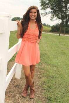 frillclothing - Coral Country Concert Dress, $34.95 (http://www.frillclothing.com/coral-country-concert-dress/)