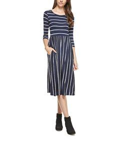 Another great find on #zulily! Reborn J Navy Stripe Pocket Dress by Reborn J #zulilyfinds
