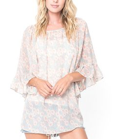 Look what I found on #zulily! Dusty Pink Floral Peasant Tunic by Caralase #zulilyfinds