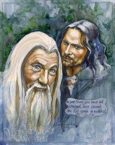 Aragorn and Gandalf the White, by Soni Alcorn-Hender Hobbit Art, Aragorn, Legolas, Lotr, The Hobbit, Illustrations, Illustration Art, Lord Sauron, Costumes