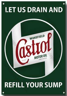 Castrol Let Us Drain Your Sump Metal Sign,Retro,Garage,Castrol Oil. Car Signs, Garage Signs, Garage Art, Vintage Advertising Posters, Vintage Advertisements, Vintage Posters, Castrol Oil, Retro, Vintage Metal Signs