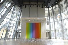 interior, Fondation Louis Vuitton, with U.S. painter Ellsworth Kelly's Spectrum XVIII and Starck chairs