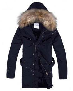 Moncler Coat Men Hooded Fur Collar Navy Blue Kuponger ee65a83ff267a