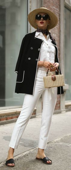 SUMMER STAPLES // White tailored cropped pants, white crisp button down, black and white double breasted jacket, straw hat, oversized cat eye sunglasses, black slides, straw box woven bag {Tommy Hilfiger, summer style, classic outfit, fashion blogger}
