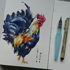 Happy year of rooster #watercolor #artist #art #artjournal ##animal #rooster #paint #painting #chinesenewyear
