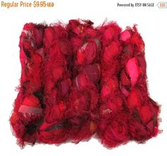 SALE Sari Silk Fuzzy Ribbon, Irredescent , Ruby Red mix