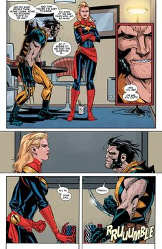 Shenanigans and Spider Ladies. Wolverine x Captain Marvel Marvel Comics, Marvel E Dc, Marvel Avengers, Cosmic Comics, Marvel Heroes, Comics Love, Funny Comics, Comic Movies, Comic Books Art