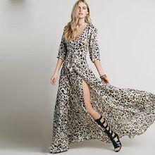 2016 New Summer Style Leopard Print Floor-Length Bohemian Dresses Maxi Long Caasual Dress Sexy V Neck Boho Beach Dress Vestidos