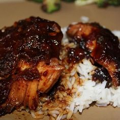 Honey-Garlic Slow Cooker Chicken Thighs Photos  Ingredients Original recipe makes 4 servings  	• 4 skinless, boneless chicken thighs 	• 1/2 cup soy sauce  	• 1/2 cup ketchup  	• 1/3 cup honey  	• 3 cloves garlic, minced  	• 1 teaspoon dried basil   Directions 	1. Lay chicken thighs into the bottom of a 4-quart slow cooker. 	2. Whisk soy sauce, ketchup, honey, garlic, and basil together in a bowl; pour over the chicken. 	3. Cook on Low for 6 hours, or high 3 hours.