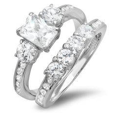 3.00 Carat (ctw) Platinum Plated Three stone Ladies Emerald and Round cut Cubic Zirconia CZ Wedding Bridal Engagement Ring with Matching Band Set (Available in size 6, 7, 8) DazzlingRock Collection. $24.99. Crafted in Platinum-plated. Just the perfect Ring for that perfect couple.. Cubic Zirconia Color / Clarity : White/Clean. Get most bang for your buck. Cubic Zirconia Weight : ct tw.