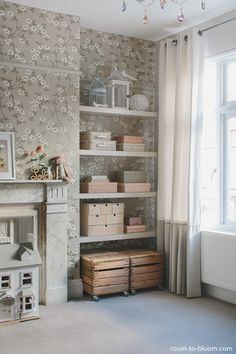 very girly room in monochrome colours| Room to Bloom |