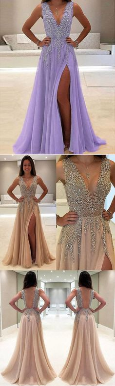 A-line V-neck Nude tulle Skirt with Slit Sexy Shinny Long Prom Dresses M1630#prom #promdress #promdresses #longpromdress #promgowns #promgown #2018style #newfashion #newstyles #2018newprom #eveninggown #aline #vneck #tulle #slit #beaded #purple
