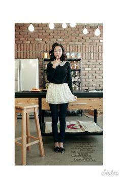 printed peterpan collar skirt 1-pc. dress  CODE: EMK21-O-579  Price: SG $44.10(US $35.56)