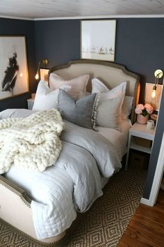 Master Bedroom Bedding- How to Make your Bedding Fluffy! Cozy bedding ideas for a beautiful master bedroom. Master Bedroom Bedding- How to Make your Bedding Fluffy! Cozy bedding ideas for a beautiful master bedroom. Cohesive DIY Home Decor Ideas Bedding Master Bedroom, Master Bedroom Design, Cozy Bedroom, Bedroom Inspo, Dream Bedroom, Home Decor Bedroom, Bedroom Furniture, Furniture Decor, Master Bedrooms