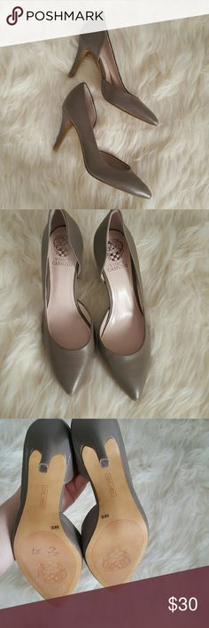 Vince Camuto Gray Heels Cut outs on sides. Super cute! Please see the photos for exact condition of shoes. Vince Camuto Shoes Heels