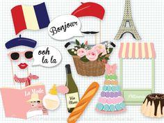 Paris Party Photo Booth Props, Photobooth Props, French, Paris Baby Shower, Paris Bridal Shower, Bastille Day, Ooh la la, Tres Chic by PaperBuiltShop on Etsy