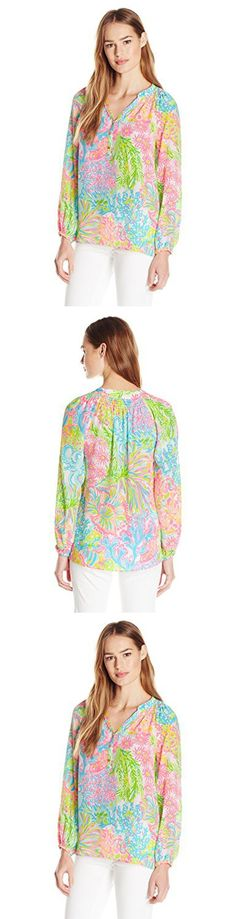 Lilly Pulitzer Women's Elsa Peasant Top, Multi Lovers Coral, X-Small