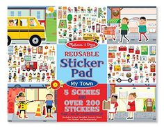 Kids' Stickers - Melissa  Doug Reusable Sticker Pad My Town  200 Stickers and 5 Scenes *** Want additional info? Click on the image.
