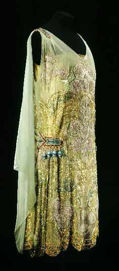 Maison Agnès, beaded and embroidered Evening Dress of green watered silk, Paris, France, c 1925.