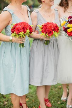#Bridesmaids #Bouquets | More on SMP: http://stylemepretty.com/2013/05/15/st-louis-circus-wedding-from-megan-thiele-studios/