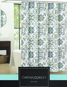 Cynthia Rowley Ornate Medallion Fabric Shower Curtain 72 Inch By Dusty Blue Turquoise Aqua Green White