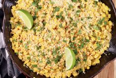 Skillet Mexican Street Corn is a quick and easy side dish for any meal. Everything you love about elote corn on the Cob but much easier to serve and enjoy! Best Soup Recipes, Corn Recipes, Vegetable Recipes, Vegetable Sides, Side Dishes Easy, Vegetable Side Dishes, Mexican Dishes, Mexican Food Recipes, Mexican Buffet