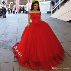 Sweet 16 Dresses Quinceanera Red Puffy Ball Gown Off Shoulder Appliques Beaded Long Vestidos De 15 Anos Girls Tulle Party Proms 2017 Quinceanera Dresses Sweet Sixteen Dresses Custom Made Size Prom Dresses Online with $222.86/Piece on Beautyu's Store | DHgate.com