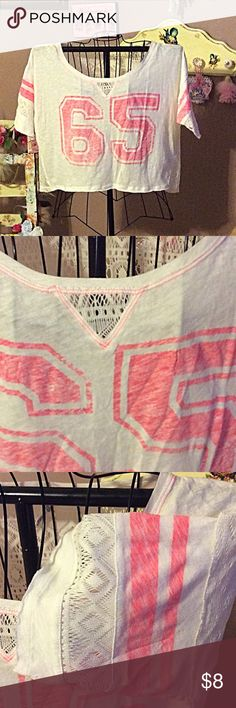 Aero Lace crop top NWOT 👚👚 Adorable Aeropostale crop top with lace inserts and lace back NWOT Color of numbers is neon orange Aeropostale Tops Crop Tops