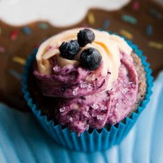 Blueberry Almond Cupcakes with Blueberry Buttercream Frosting