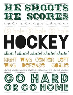 Free printable: hockey subway art boy version