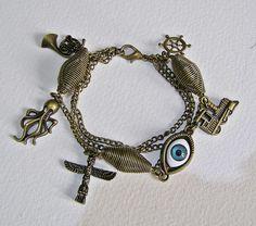 Steampunk Charm Bracelet, Octopus, Train, Eye Handmade Arts and Craft,  Bronze by ArtandThingsUK on Etsy