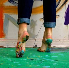 painting barefoot oh yeah....