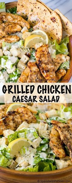 Healthy Grilled Chicken Caesar Salad with Garlic Parmesan Flatbread is the perfect summer meal! Juicy chicken, crisp fresh lettuce with a creamy garlic parmesan dressing all topped off with a grilled garlic parmesan flatbread. Grilled Chicken Parmesan, Grilled Chicken Caesar Salad, Chicken Salad Recipes, Grilled Meat, Garlic Parmesan, Chicken Flatbread, Flatbread Recipes, Sides For Grilled Chicken, High Protein Chicken Recipes