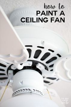 How to paint a ceiling fan without removing it from the ceiling. Step-by-step photo tutorial shows you how.