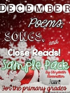 FREE December Songs, poems, and Close Reads sampler pack.