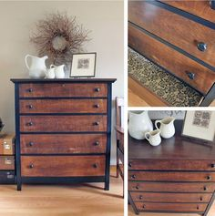 """This oak dresser had been in the family for over 50 years when my client decided to give this work horse an update. I stripped the top and refinished both the drawer fronts and top with Java Gel foll Refurbished Furniture, Paint Furniture, Repurposed Furniture, Furniture Projects, Furniture Makeover, Furniture Design, Furniture Stores, Furniture Outlet, Bedroom Furniture"