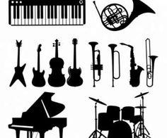 Instrumentos musicales. Siluetas negras.